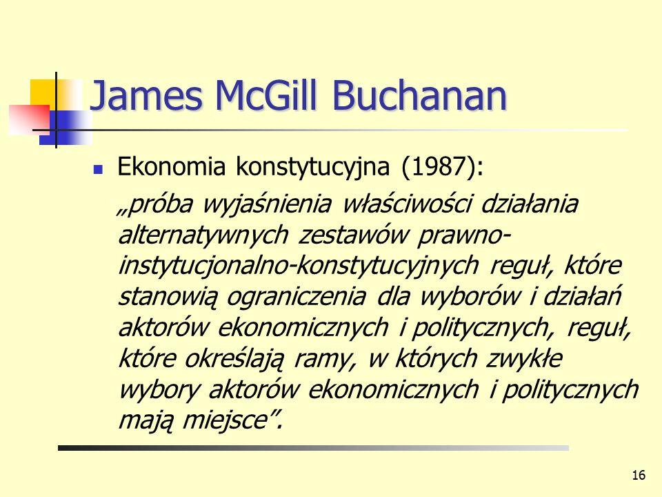 James McGill Buchanan Ekonomia konstytucyjna (1987):