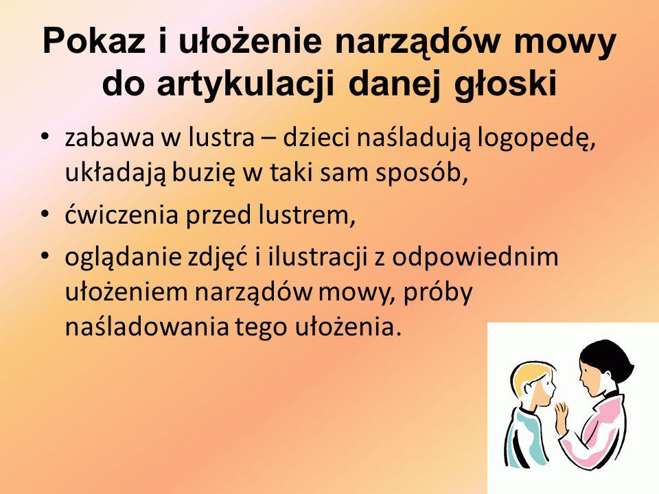 Pokaz i ułożenie narządów mowy do artykulacji danej głoski