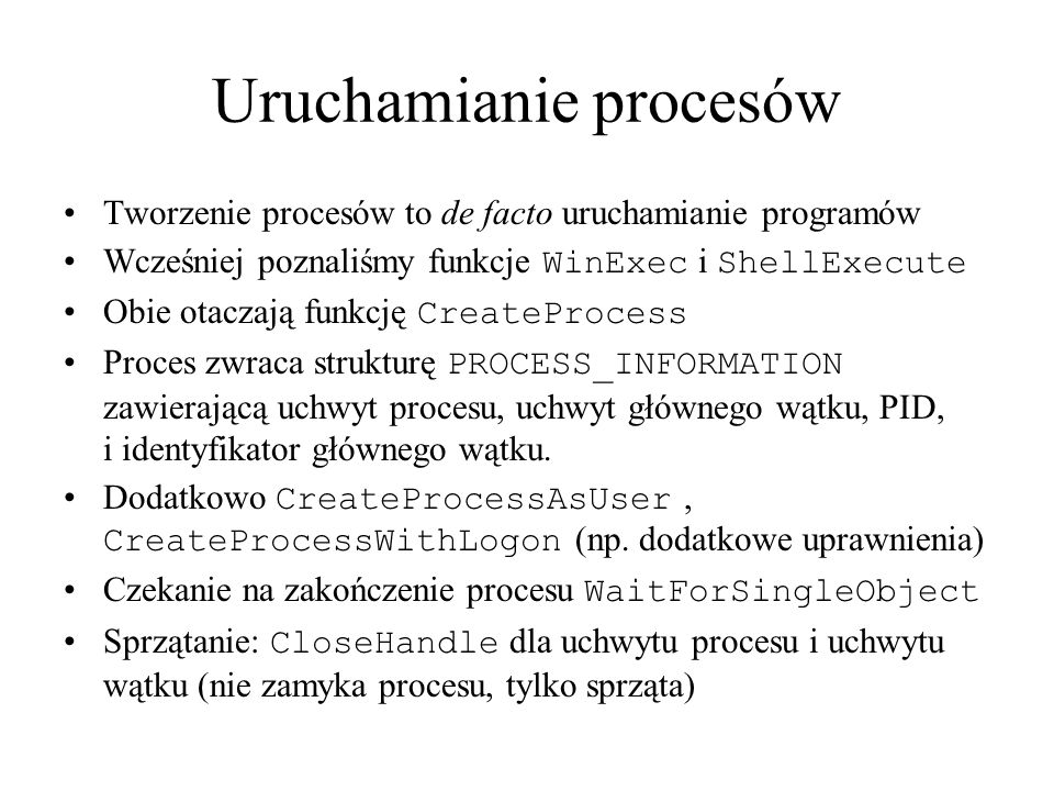 Uruchamianie procesów