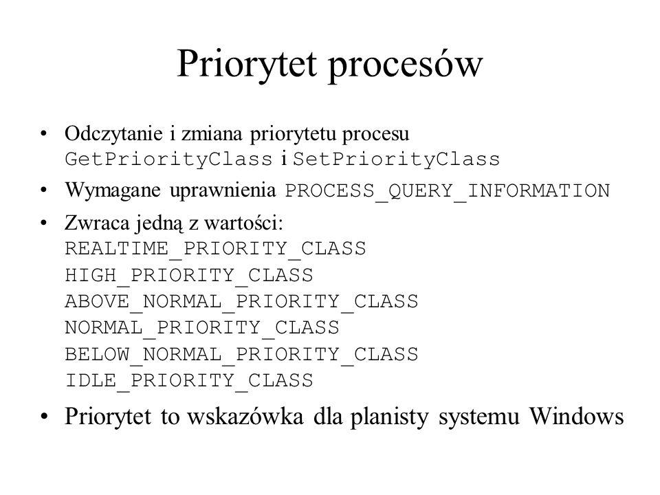 Priorytet procesów Priorytet to wskazówka dla planisty systemu Windows