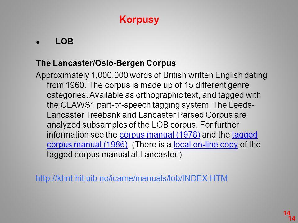 Korpusy The Lancaster/Oslo-Bergen Corpus