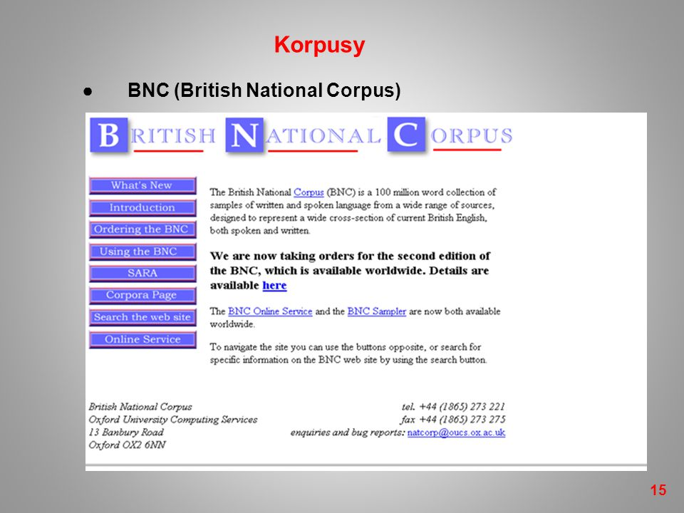 Korpusy ● BNC (British National Corpus) 15 15