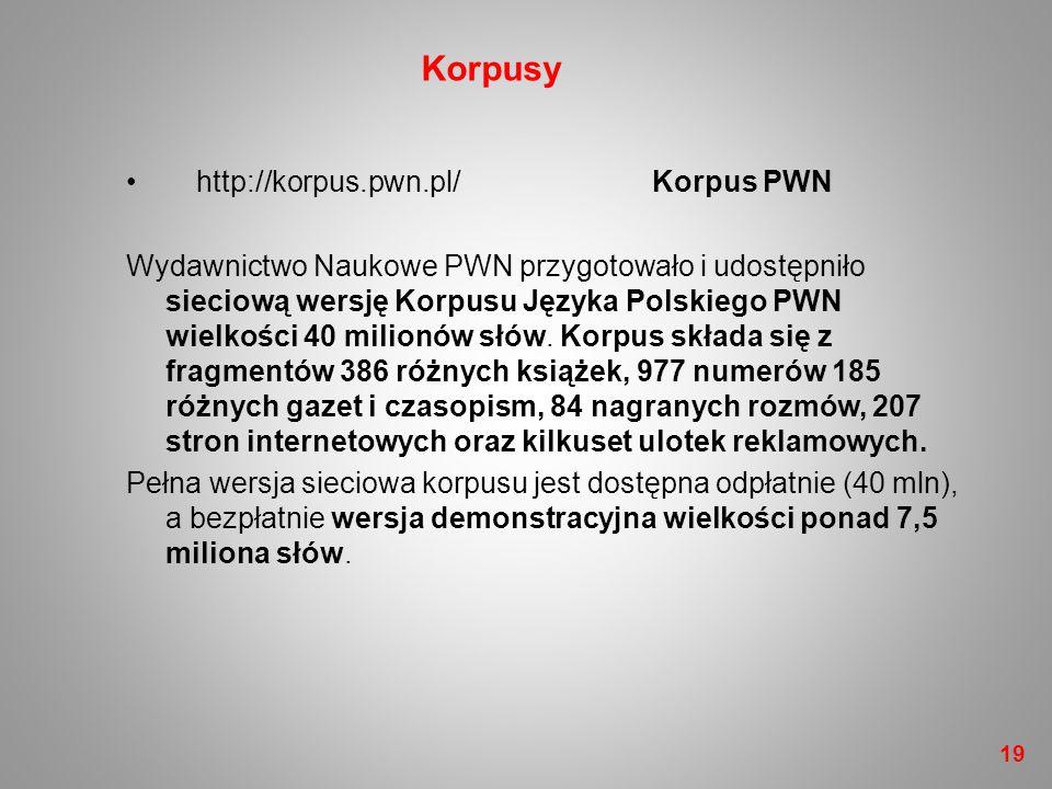 Korpusy http://korpus.pwn.pl/ Korpus PWN