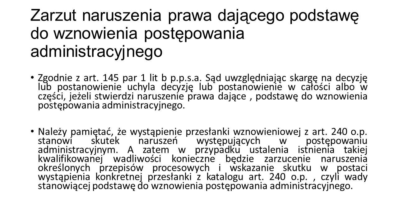 Zarzut naruszenia prawa dającego podstawę do wznowienia postępowania administracyjnego
