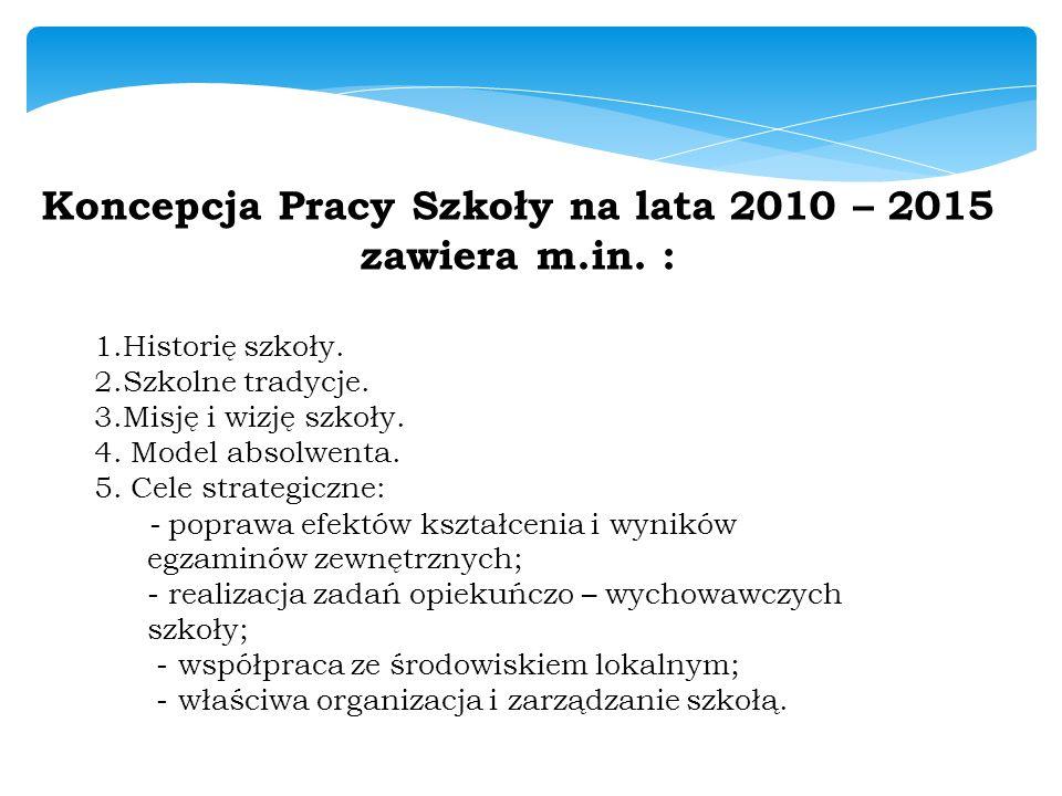 Koncepcja Pracy Szkoły na lata 2010 – 2015 zawiera m.in. :