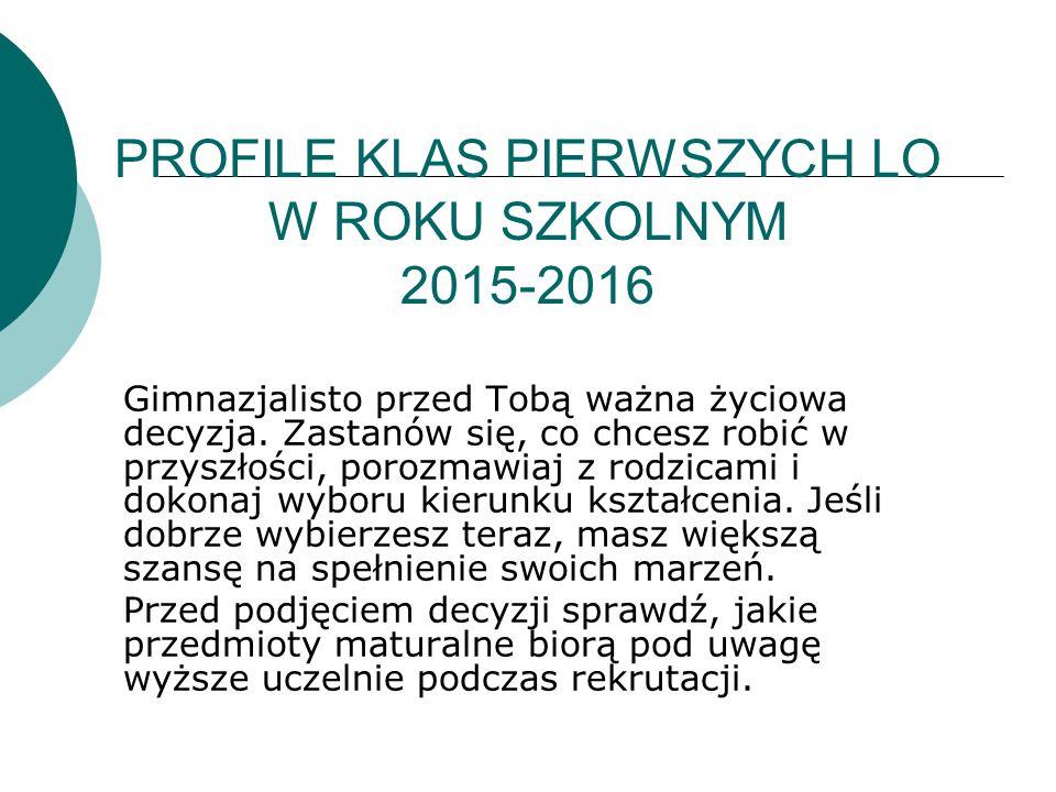 PROFILE KLAS PIERWSZYCH LO W ROKU SZKOLNYM 2015-2016