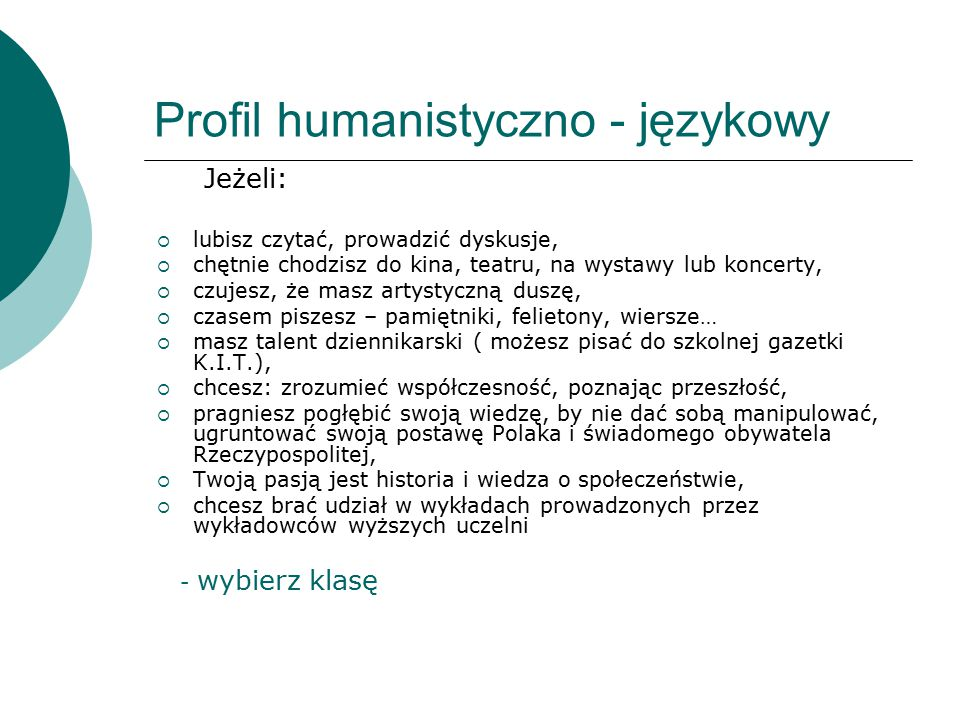 Profil humanistyczno - językowy