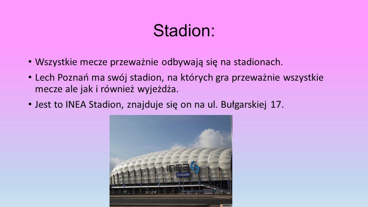 Stadion: Wszystkie mecze przeważnie odbywają się na stadionach.