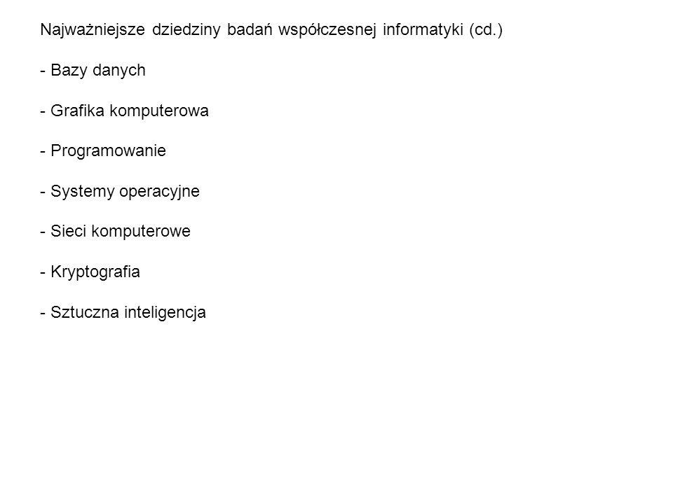 Najważniejsze dziedziny badań współczesnej informatyki (cd.)