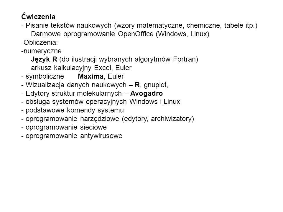 Ćwiczenia - Pisanie tekstów naukowych (wzory matematyczne, chemiczne, tabele itp.) Darmowe oprogramowanie OpenOffice (Windows, Linux)