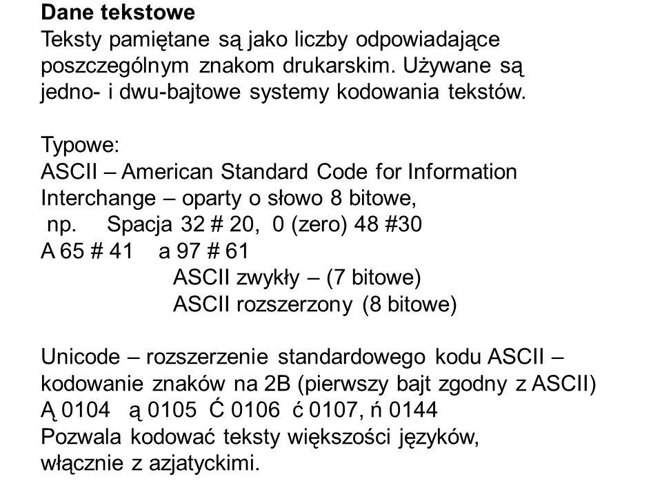 Dane tekstowe Teksty pamiętane są jako liczby odpowiadające. poszczególnym znakom drukarskim. Używane są.