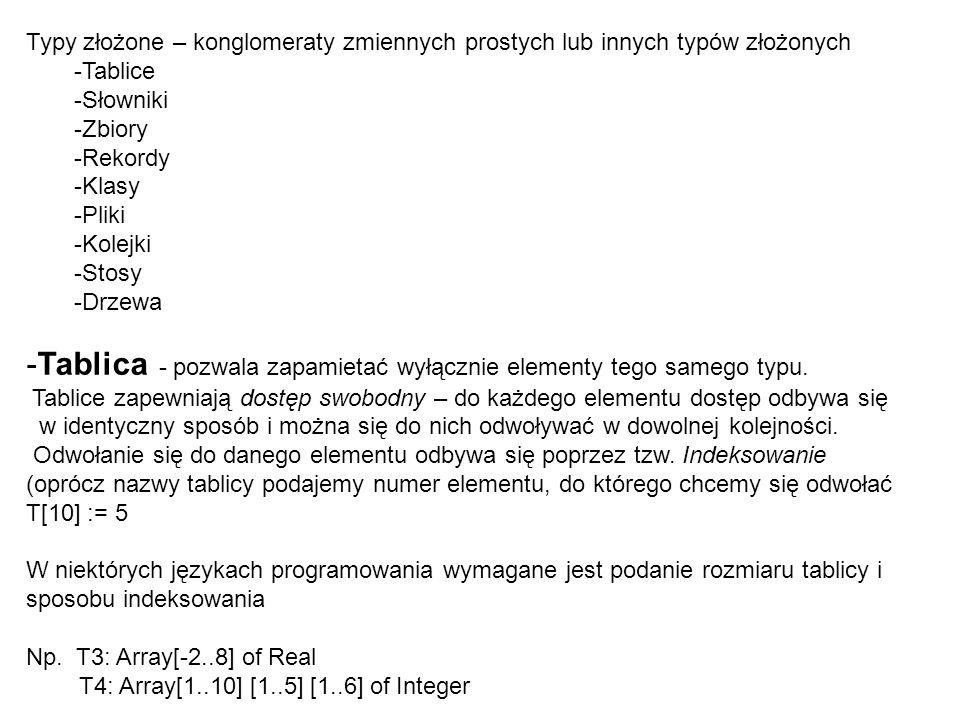 Tablica - pozwala zapamietać wyłącznie elementy tego samego typu.