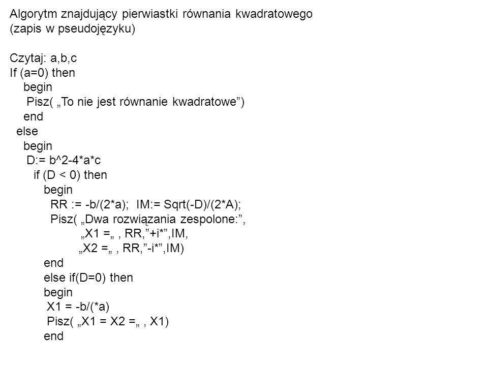 Algorytm znajdujący pierwiastki równania kwadratowego