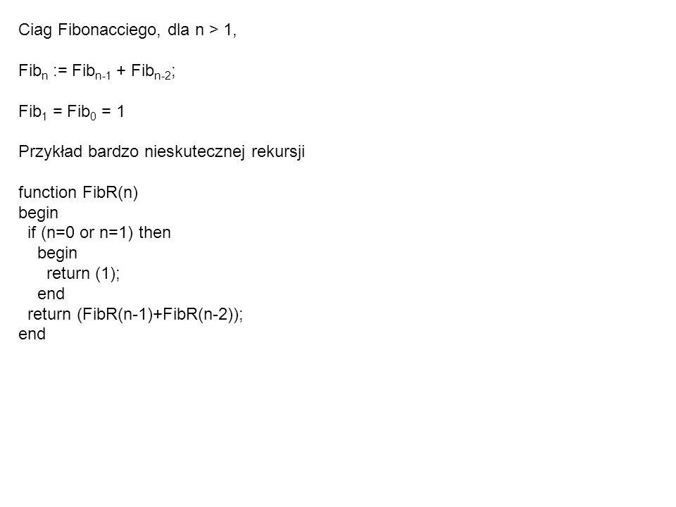 Ciag Fibonacciego, dla n > 1,