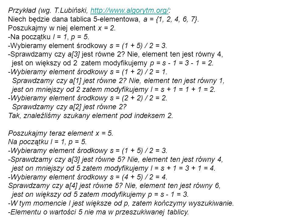Przykład (wg. T. Lubiński, http://www. algorytm