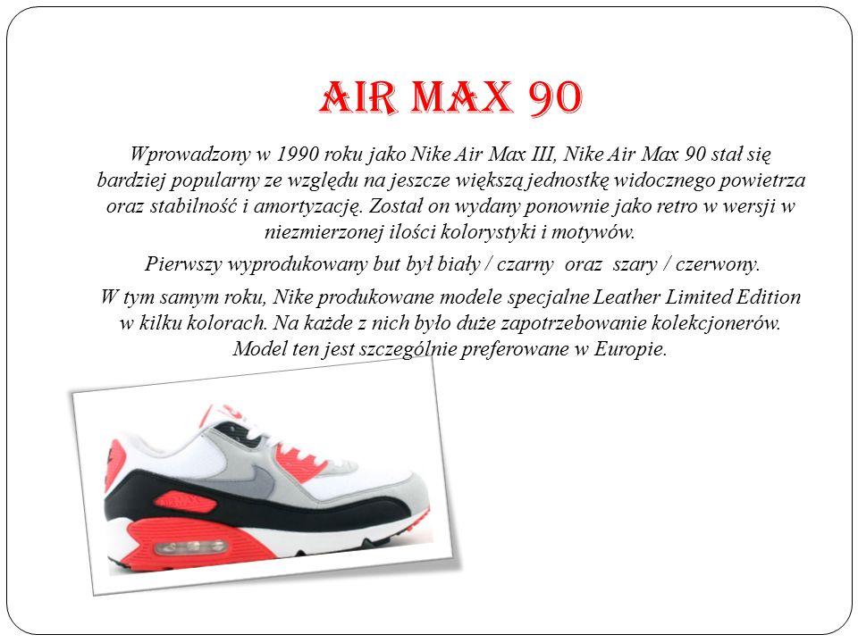 Pierwszy wyprodukowany but był biały / czarny oraz szary / czerwony.