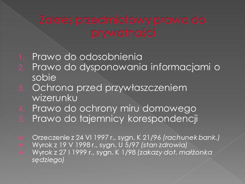 Zakres przedmiotowy prawa do prywatności