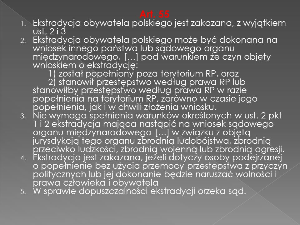 Art. 55 Ekstradycja obywatela polskiego jest zakazana, z wyjątkiem ust. 2 i 3.