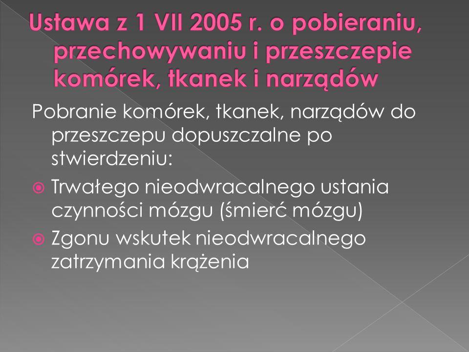 Ustawa z 1 VII 2005 r. o pobieraniu, przechowywaniu i przeszczepie komórek, tkanek i narządów