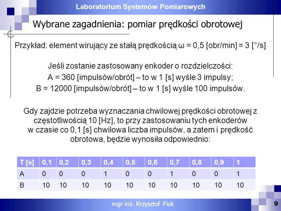 Wybrane zagadnienia: pomiar prędkości obrotowej