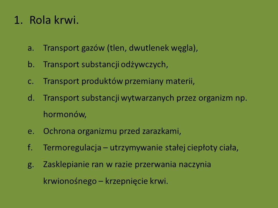 Rola krwi. Transport gazów (tlen, dwutlenek węgla),