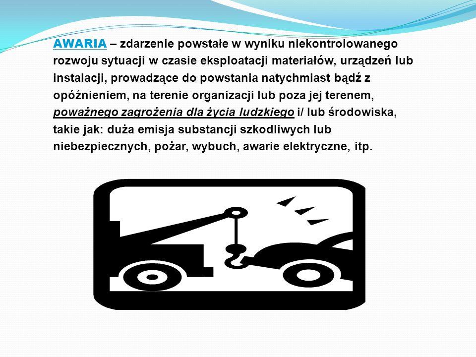 AWARIA – zdarzenie powstałe w wyniku niekontrolowanego rozwoju sytuacji w czasie eksploatacji materiałów, urządzeń lub instalacji, prowadzące do powstania natychmiast bądź z opóźnieniem, na terenie organizacji lub poza jej terenem, poważnego zagrożenia dla życia ludzkiego i/ lub środowiska, takie jak: duża emisja substancji szkodliwych lub niebezpiecznych, pożar, wybuch, awarie elektryczne, itp.