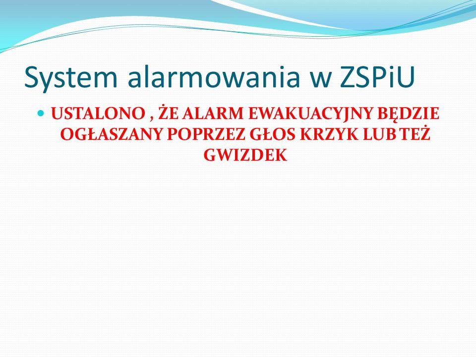 System alarmowania w ZSPiU