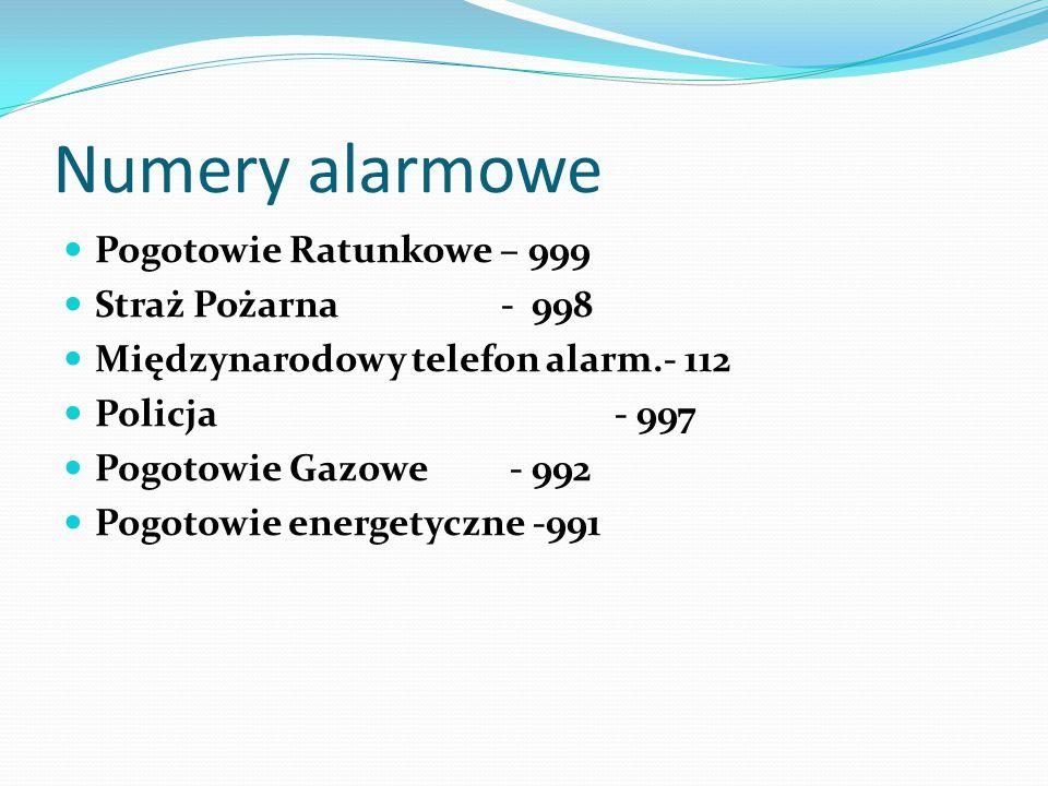 Numery alarmowe Pogotowie Ratunkowe – 999 Straż Pożarna - 998