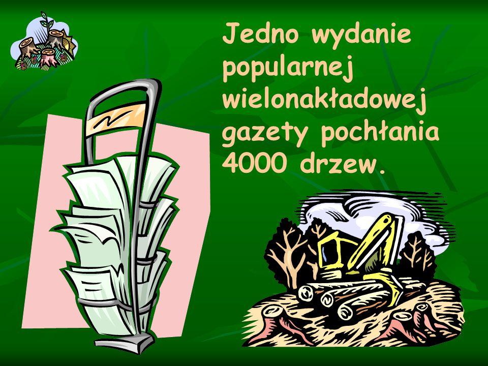 Jedno wydanie popularnej wielonakładowej gazety pochłania 4000 drzew.