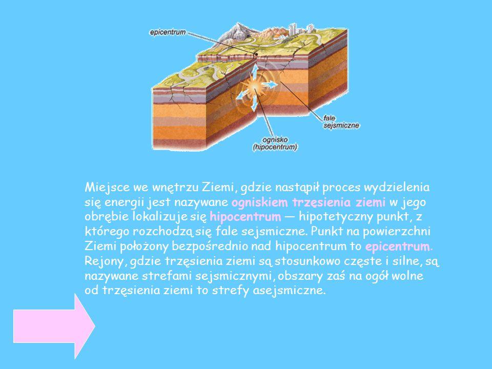 Miejsce we wnętrzu Ziemi, gdzie nastąpił proces wydzielenia się energii jest nazywane ogniskiem trzęsienia ziemi w jego obrębie lokalizuje się hipocentrum — hipotetyczny punkt, z którego rozchodzą się fale sejsmiczne.
