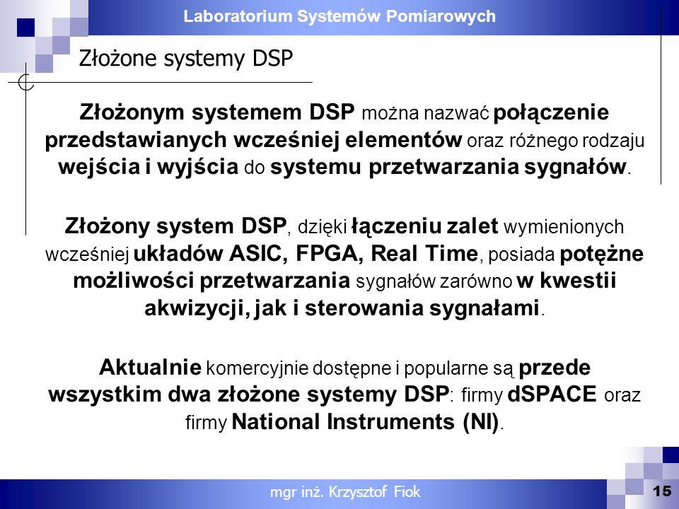 Złożone systemy DSP