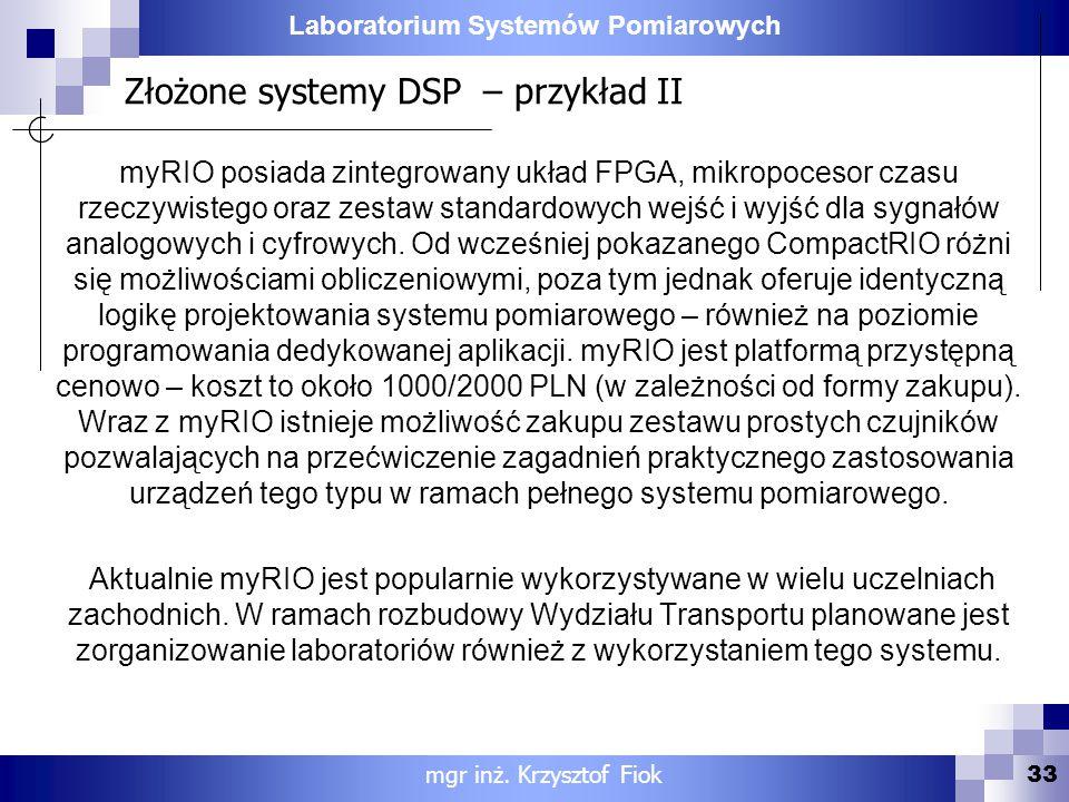 Złożone systemy DSP – przykład II
