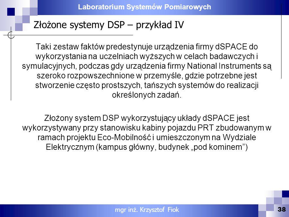 Złożone systemy DSP – przykład IV