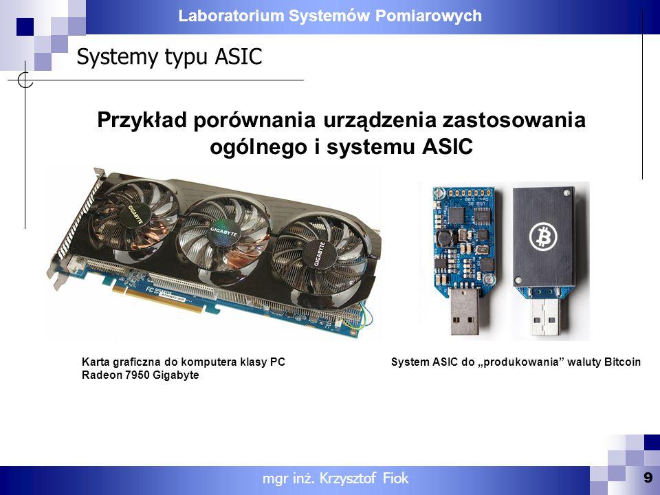 Przykład porównania urządzenia zastosowania ogólnego i systemu ASIC