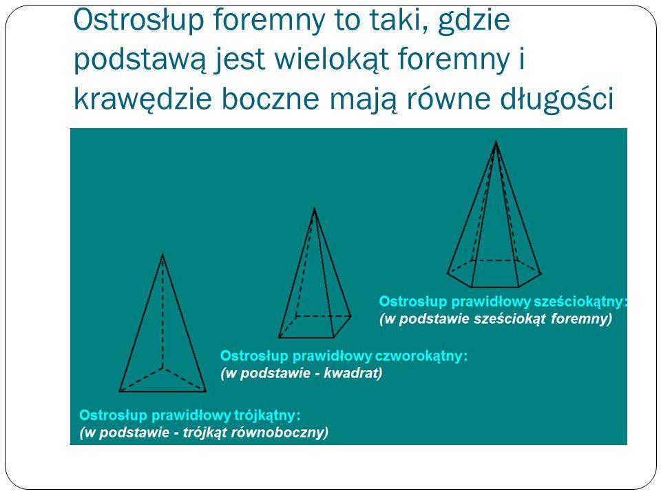 Ostrosłup foremny to taki, gdzie podstawą jest wielokąt foremny i krawędzie boczne mają równe długości