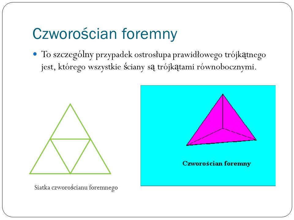 Czworościan foremny To szczególny przypadek ostrosłupa prawidłowego trójkątnego jest, którego wszystkie ściany są trójkątami równobocznymi.