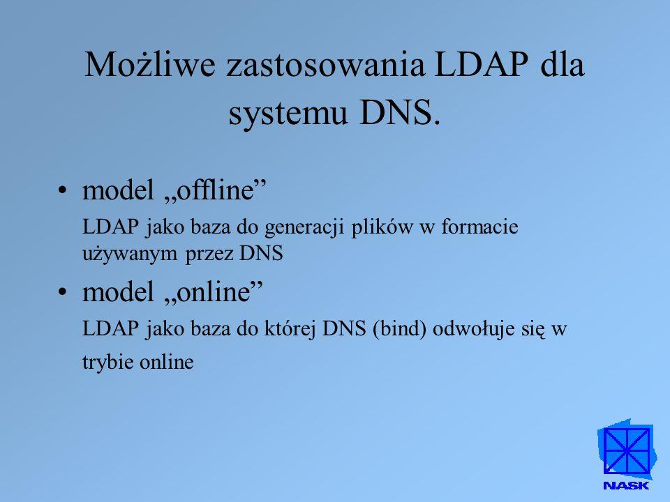 Możliwe zastosowania LDAP dla systemu DNS.