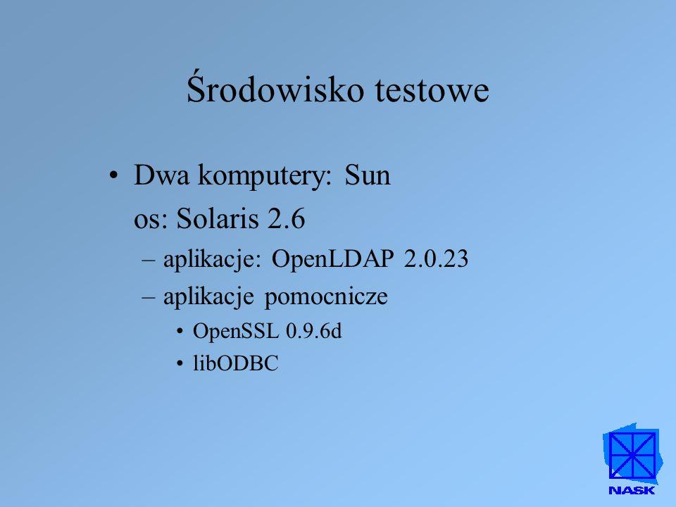 Środowisko testowe Dwa komputery: Sun os: Solaris 2.6