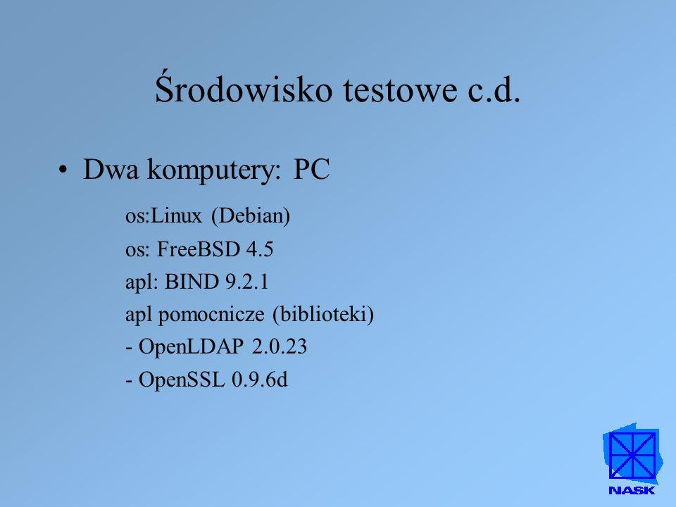 Środowisko testowe c.d. Dwa komputery: PC os:Linux (Debian)