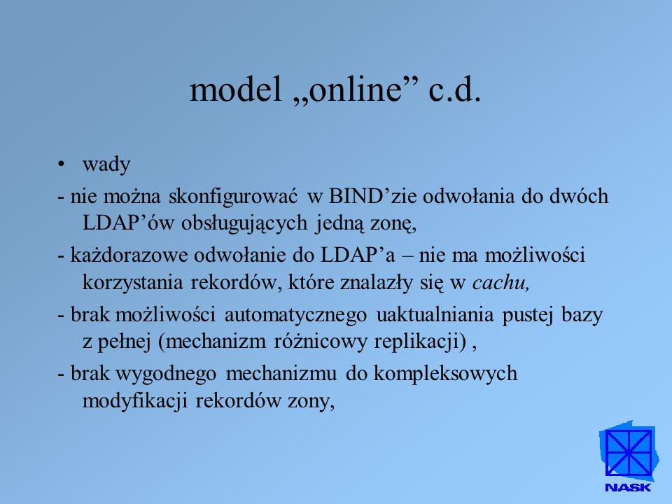 """model """"online c.d. wady. - nie można skonfigurować w BIND'zie odwołania do dwóch LDAP'ów obsługujących jedną zonę,"""