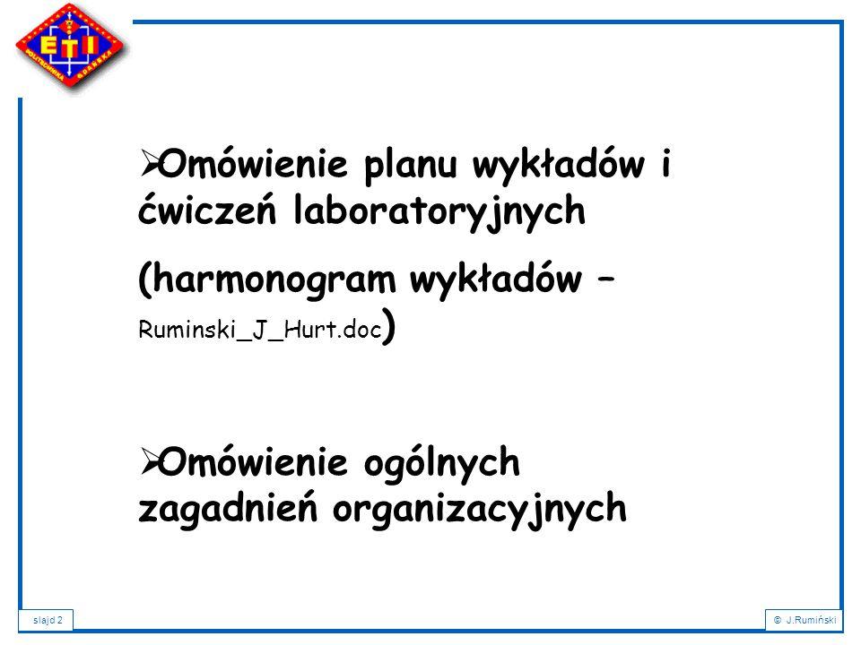 Omówienie planu wykładów i ćwiczeń laboratoryjnych
