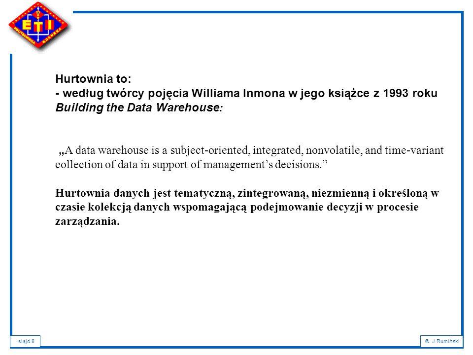 Hurtownia to: - według twórcy pojęcia Williama Inmona w jego książce z 1993 roku. Building the Data Warehouse: