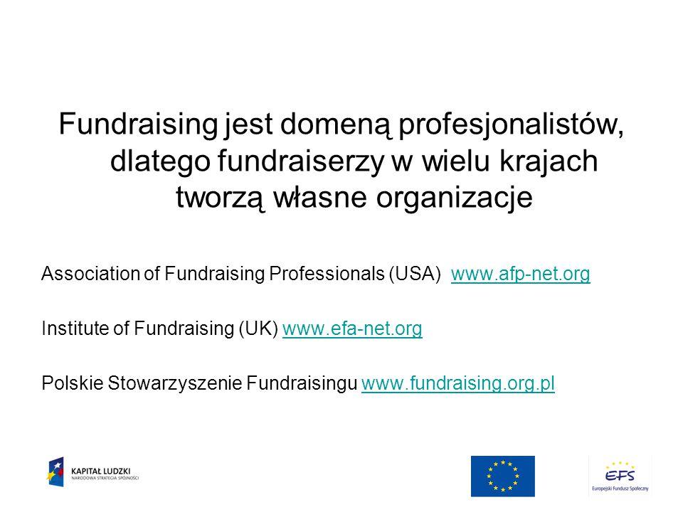 Fundraising jest domeną profesjonalistów, dlatego fundraiserzy w wielu krajach tworzą własne organizacje