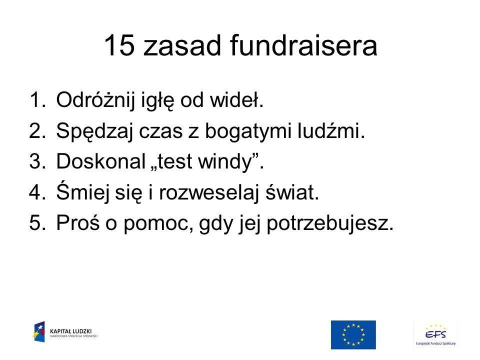 15 zasad fundraisera Odróżnij igłę od wideł.