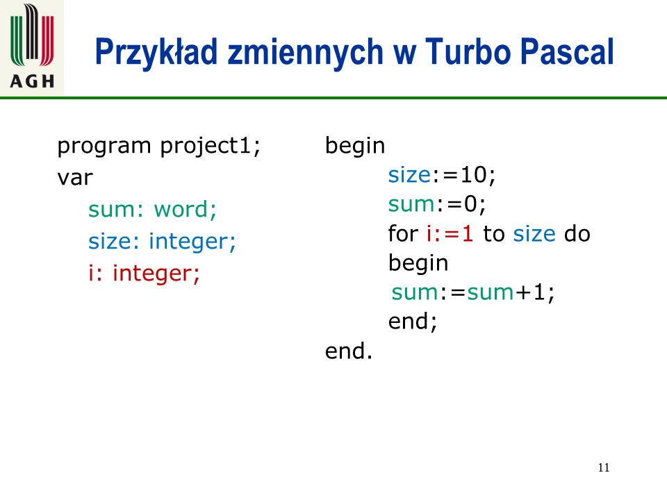 Przykład zmiennych w Turbo Pascal