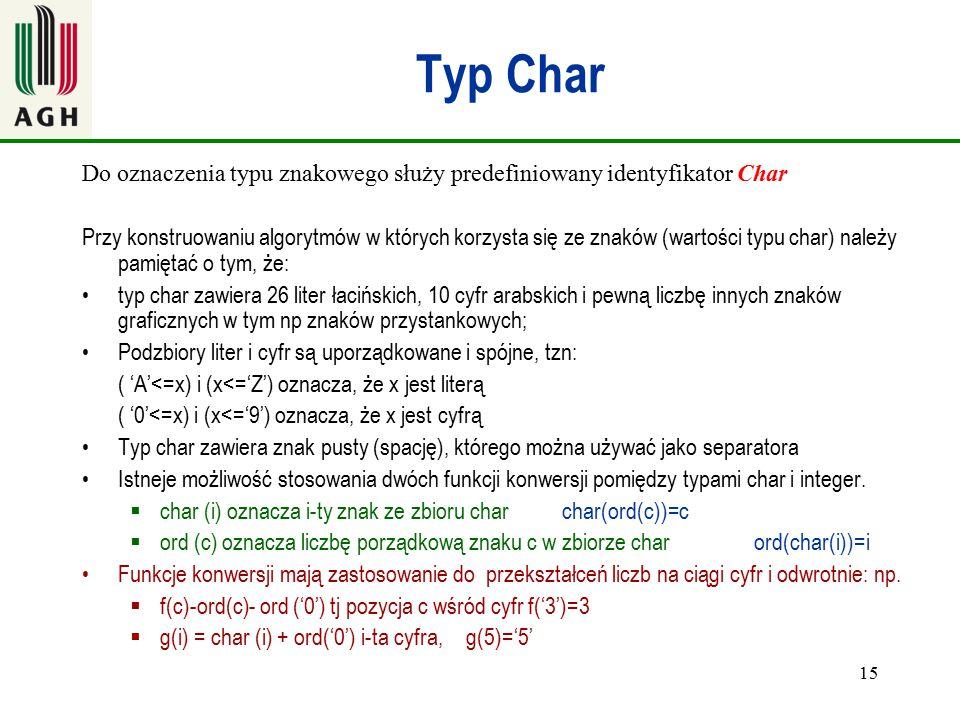 Typ Char Do oznaczenia typu znakowego służy predefiniowany identyfikator Char.
