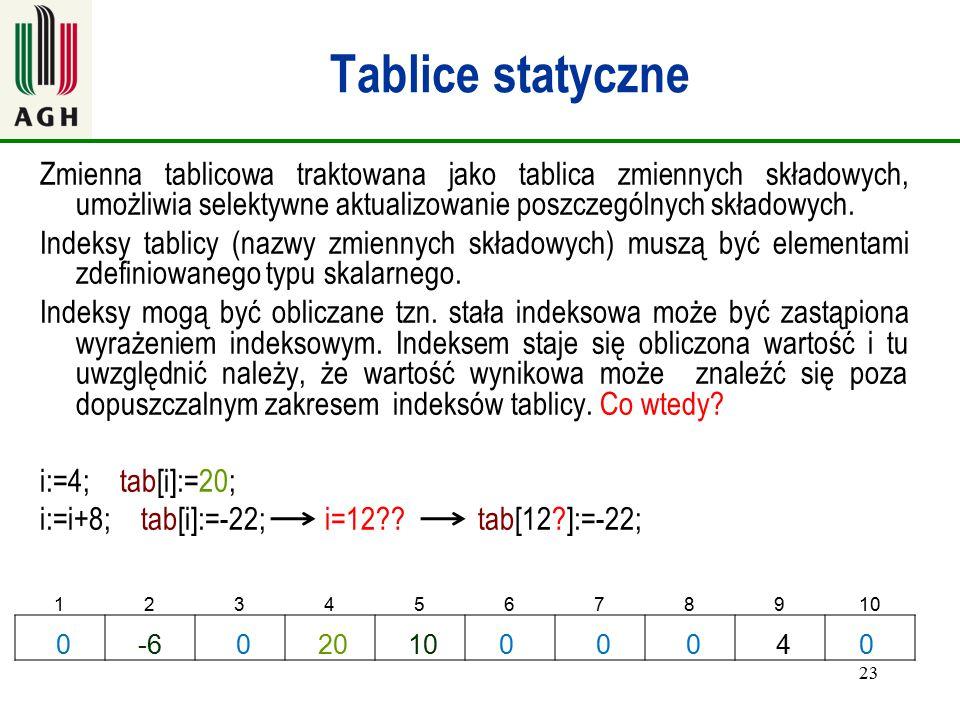 Tablice statyczne Zmienna tablicowa traktowana jako tablica zmiennych składowych, umożliwia selektywne aktualizowanie poszczególnych składowych.