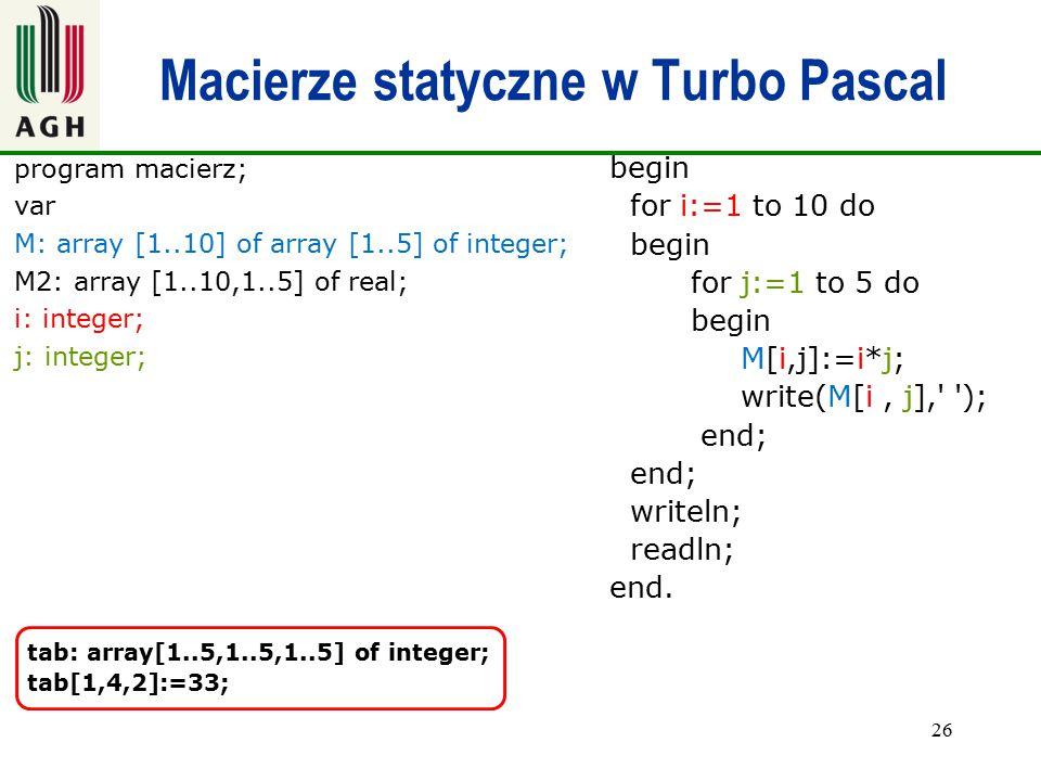 Macierze statyczne w Turbo Pascal