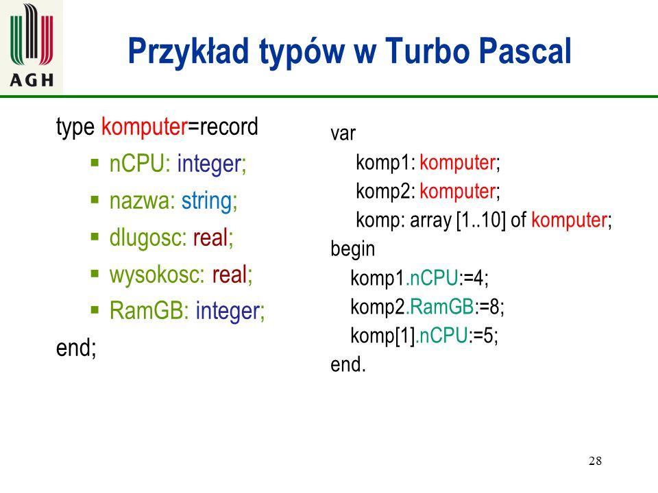 Przykład typów w Turbo Pascal
