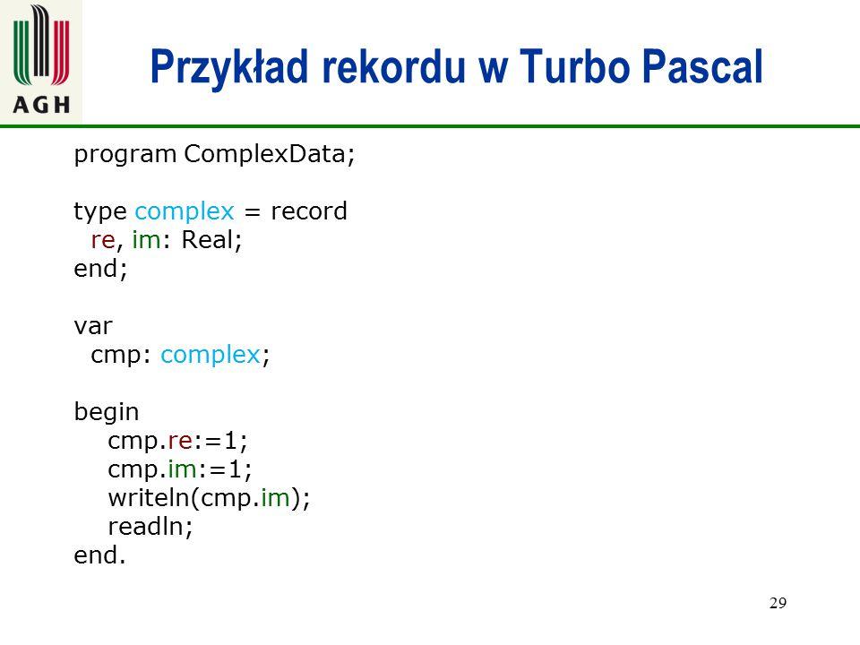Przykład rekordu w Turbo Pascal
